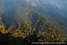 朝霧漂う秋の穂高